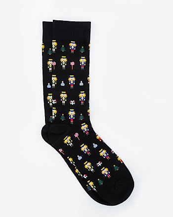 Nutcracker Print Cotton Blend Socks