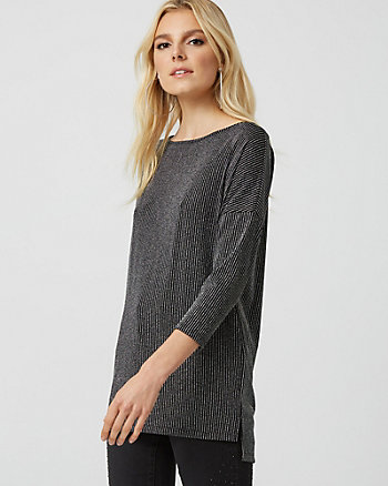 Metallic Knit Dolman Sleeve Top