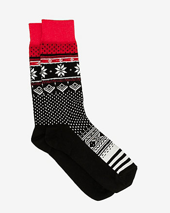 Fair Isle Cotton Blend Sock