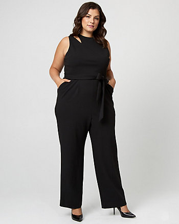 Knit Crêpe Asymmetrical Jumpsuit