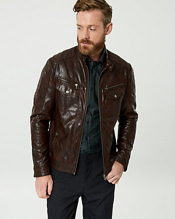 Leather-Like Slim Fit Motorcycle Jacket