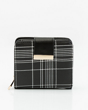 Check Print Leather-Like Snap Wallet