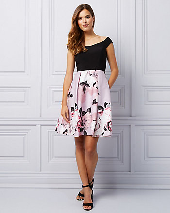 Floral Cotton Sateen Off-the-Shoulder Dress