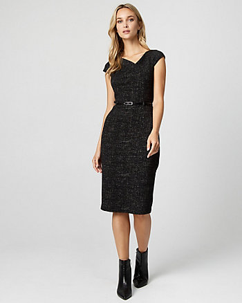 Bouclé Belted Sheath Dress