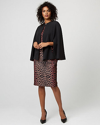 Leopard Print Lining Woven Cape