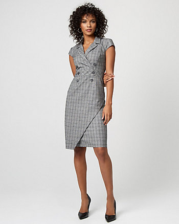 Check Print Double Breasted Sheath Dress