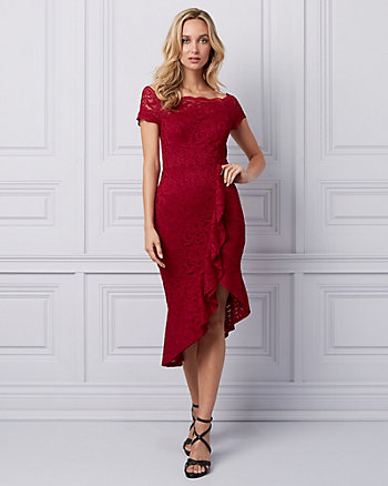 Lace Off-the-Shoulder Ruffle Dress