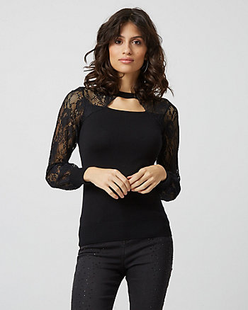Viscose Blend & Lace Cutout Sweater