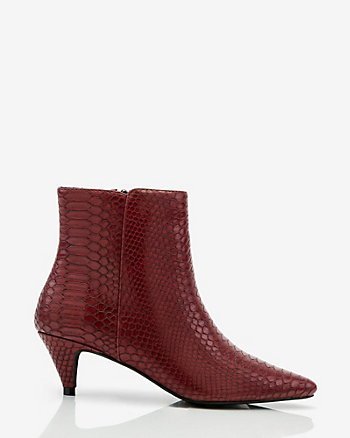 Snake Embossed Pointy Toe Ankle Boot