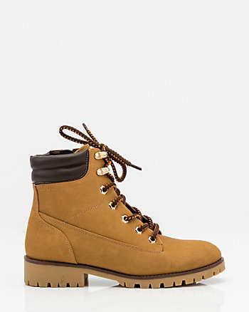 Round Toe Lace-Up Hiking Boot