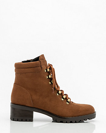 Round Toe Lace-Up Ankle Boot