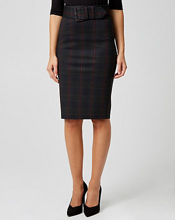 Check Print Ponte Knit Belted Pencil Skirt