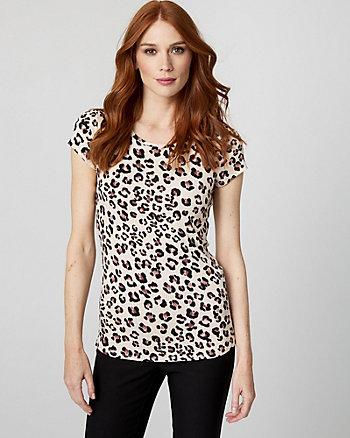Leopard Print Jersey Knit Crew Neck T-Shirt