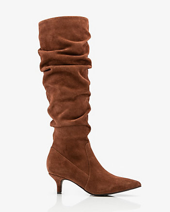 Suede Pointy Toe Slouch Boot