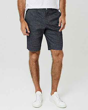 Stretch Linen Blend Shorts