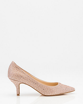 Jewel Embellished Satin Kitten Heel Pump