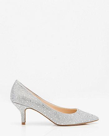Jewel Embellished Satin Kitten Heel Pump
