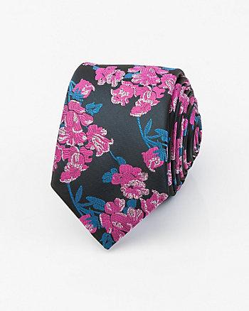 Metallic Floral Print Microfibre Tie