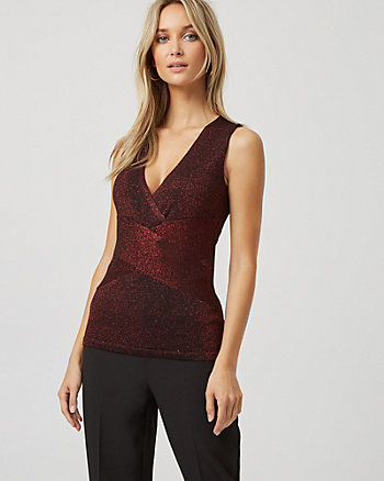 Banded Metallic Knit Sweater Tank