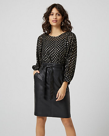 Metallic Foil Dot Print Bishop Sleeve Blouse