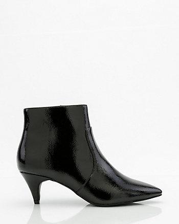 Crinkle Patent Kitten Heel Ankle Boot