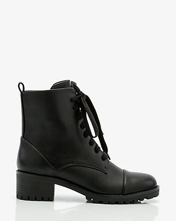 Round Toe Lace-Up Combat Boot