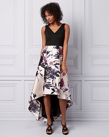 Floral Print High-Low Gown