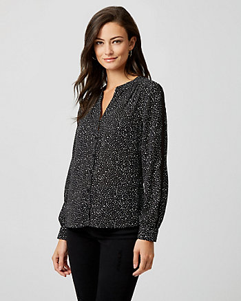 Polka Dot Lace & Crêpe de Chine Blouse