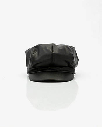 Faux Leather Poor Boy Cap