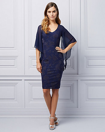 Jacquard Print Angel Sleeve Cocktail Dress