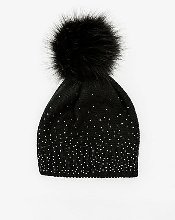 Gem Embellished Knit Pom-Pom Hat