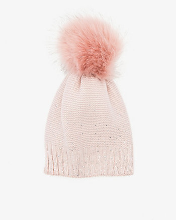 Gem Embellished Knit Pom-Pom Hat