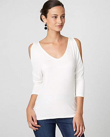 Viscose Blend Cold Shoulder Top