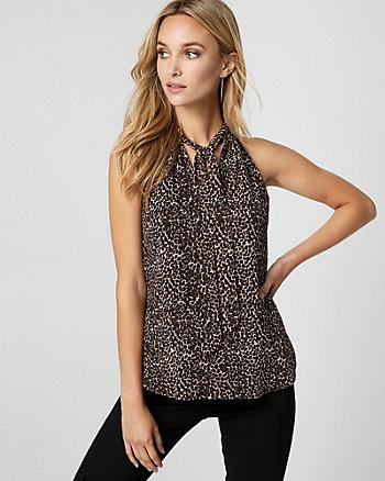 Leopard Print Chiffon Tie Neck Blouse