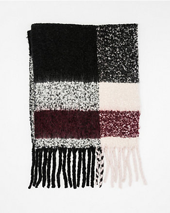 Colour Block Plush Fringe Scarf