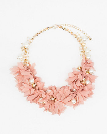 Floral & Pearl-Like Collarbone Necklace