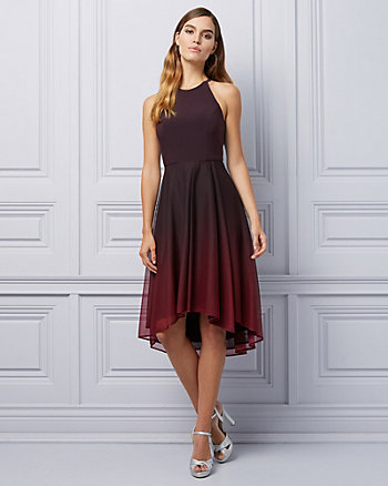 Ombré Sheer Knit High-Low Cocktail Dress