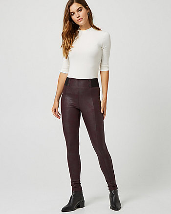 Coated Ponte Knit Skinny Leg Pant