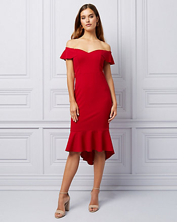 Knit Off-the-Shoulder Cocktail Dress