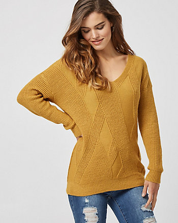 Ribbed Knit V-Neck Sweater