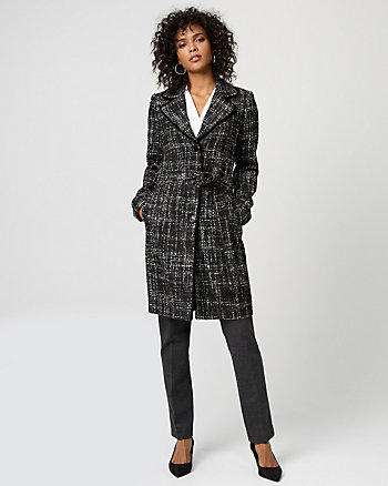 Bouclé Notch Collar Belted Coat