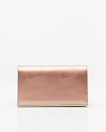 Metallic Leather-Like Flapover Clutch