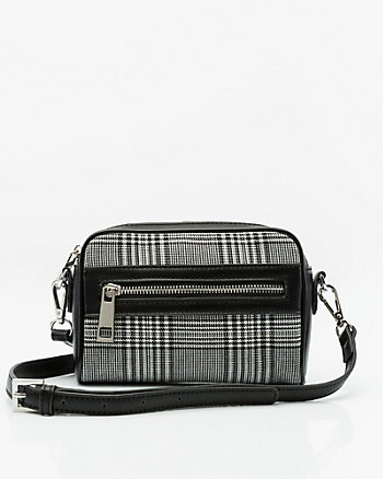 Check Print Faux Leather Crossbody Bag