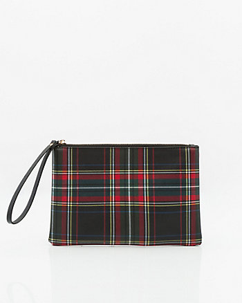 Check Print Leather-Like Cosmetic Pouch