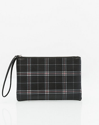 Check Print Faux Leather Cosmetic Pouch