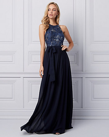 Embroidered Lace Halter Gown