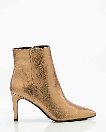 Metallic Pointy Toe Ankle Boot