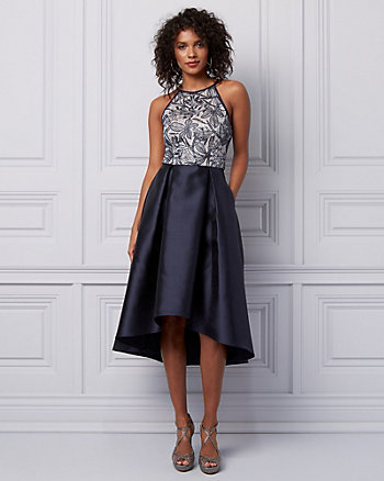 Embroidered Lace & Sequin High-Low Dress