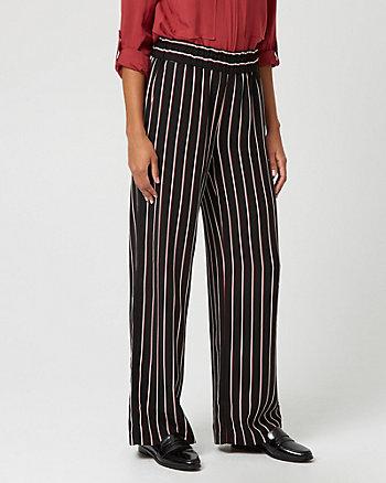 Stripe Print Crêpe Wide Leg Pant