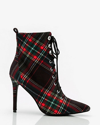 Check Pointy Toe Lace-Up Ankle Boot